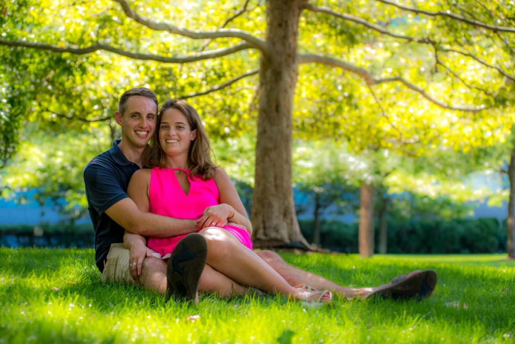 engagement photo under a tree