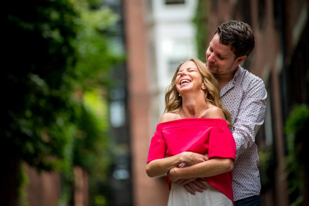 engagement hug in acorn street