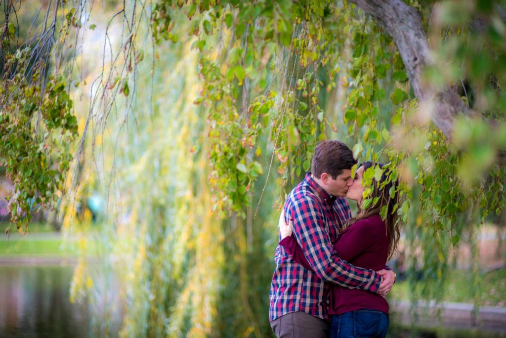 kissing by the willow tree in boston commons engagement