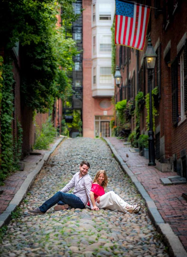 engagement sitting on the acorn street. a very old boston street