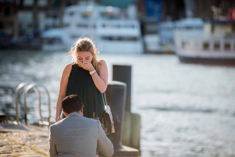 suprise wedding proposal at fan pier she was surprised